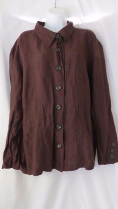 Ashley Stewart size 22 button up shirt long sleeve brown  #AshleyStewart #ButtonDownShirt #Casual