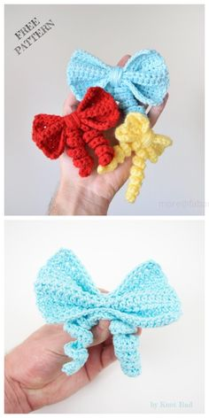 Cutest Bow Free Crochet Patterns & Paid - New Ideas Crochet Bows Free Pattern, Crochet Embellishments, Easy Crochet Patterns, Cute Crochet, Crochet Baby, Crochet Hair Bows, Crochet Hair Accessories, Crochet Hair Styles, Crochet Flowers