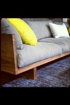 Can make this couch, need a seamstress for the cushions. Need to measure the coricraft couch and make it less deep. Wooden Couch, Wood Sofa, Plywood Furniture, Home Furniture, Furniture Design, Furniture Stores, Wooden Sofa Designs, Diy Couch, Comfy Sofa
