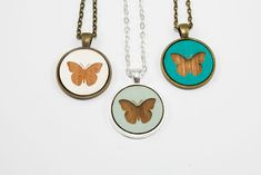 Butterfly Pendant Design - Laser Engraved Wooden Cameo Necklace (Any Color - Custom Made)