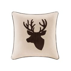 This Madison Park Deer Embroidered Faux Suede throw pillow adds character to your home. Deer Pillow, Decorative Throw Pillows, Park, Feather, Designer Living, Cabin, Future, Boys, Man Cave