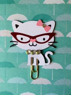 Kitty Page Clip Planner Clip Bookmark white by KittysGiftsNMore