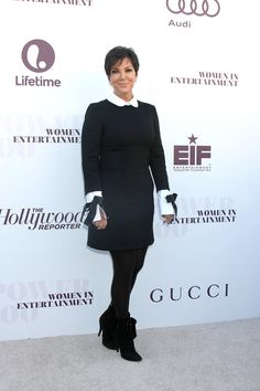 7e4c567d7b Kris Jenner wearing black dress with white collar and white cuffs Kris  Jenner Style
