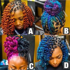 💙 💚 💛 🧡 ❤️ 💜 💗 G O O D ☀️ M O R N I N G Custom colors by 🎨 Twist & styled by me 👑 Which one is your favorite? Dreads Styles For Women, Short Dread Styles, Curly Hair Styles, Natural Hair Styles, Dyed Dreads, Dreads Girl, Pretty Dreads, Beautiful Dreadlocks, Short Locs Hairstyles