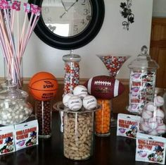 Sports candy theme sports party, sport theme parties, sports th Sports Themed Birthday Party, Ball Birthday Parties, Boy Birthday, Birthday Basket, Birthday Ideas, Basketball Birthday, Theme Parties, Party Events, Birthday Table