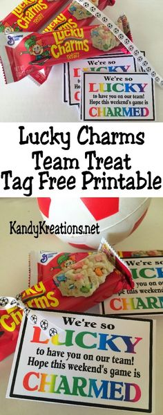 Celebrate your team and wish them good luck on their next game with this free tag printable. Using a Lucky Charms breakfast bar, simple tie the Lucky Charms tag for a simply yet delicious way to wish your team some magical charm this weekend. Cheerleading Snacks, Cheer Snacks, Sports Snacks, Team Snacks, Volleyball Gifts, Sports Gifts, Volleyball Ideas, Football Snacks, Hockey Gifts