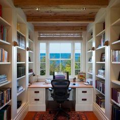 Home Office Design Ideas - love the floor to ceiling bookshelves and the desk facing an outside window. Description from pinterest.com. I searched for this on bing.com/images