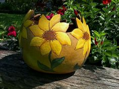 Hand painted gourd, sunflower.