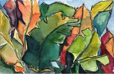 Art Painting Watercolor Abstract Tropical Leaves Foliage Garden PRINT in hues of forest green, chartreuse, persimmon, citrine and cerulean blue. ______________________________________________________________ The color is pure caribbean, no? Watercolor Landscape, Abstract Watercolor, Watercolor And Ink, Watercolor Flowers, Watercolor Paintings, Abstract Art, Watercolors, Paintings Famous, Original Paintings