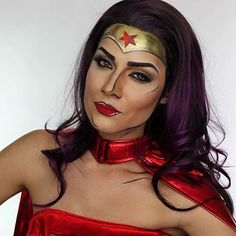 Halloween Wonder Woman Makeup Looks For Girls 2017 Iron Man Face Paint, Fox Face Paint, Batman Face Paint, Superhero Face Painting, Looks Halloween, Halloween Face Makeup, Halloween Ideas, I Love Makeup, Makeup Looks
