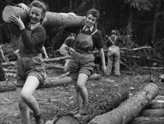 "Not only Canadian lumberjacks, members of the Canadian Forestry Corps, logged the forests of Scotland during World War Two. British women were also at work in the woods. Almost 5,000 young British women joined the Women's Land Army Timber Corps. These ""lumberjills"" worked felling trees and operating sawmills. For more: www.elinorflorence.com/blog/canadian-forestry-corps."