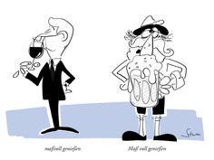 Maßvoll genießen #cartoon #humor #gourmet #wein #bier #oktoberfest #bayern #frankreich #maß #tracht