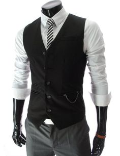 TheLees Mens slim fit chain point 5 button vest: Clothing