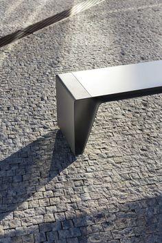 Public bench / contemporary / sheet steel / wooden - RADIUM by David Karásek & Radek Hegmon - mmcité 1 a.s.