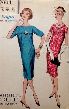 1950's  Vintage Vogue Dress Slim Gathered Kimono Sleeves Sewing Pattern #9604