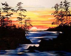 Paint Nite Erie | Sunset over the Rapids at Calamari\'s Squid Row 03/02/2015