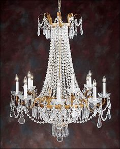 """12 Light Empire Crystal chandelier from Italy on an antique gilded hand-wrought iron frame. Size shown:30""""W x 39""""H."""