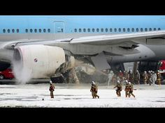 Korean Air Plane Boeing 777-300 Catches Fire on Haneda Runway at Tokyo Airport - YouTube