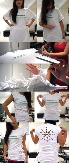Resize a large t-shirt with a side scrunch & cut out a snowflake on the back!