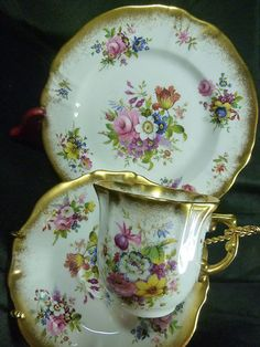 4:00 Tea...Hammersley...teacup and saucer trio in the Lady Patricia pattern