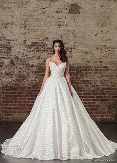 justin alexander spring 2017 bridal spagetti strap sweetheart neckline heavily embellished bodice princess ball gown a  line wedding dress long monarch train (9864) mv