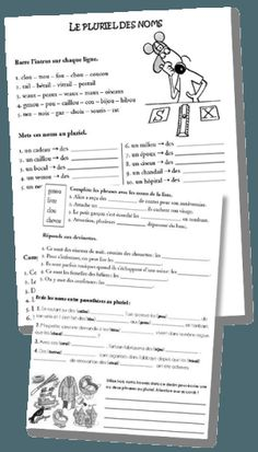 Le pluriel des noms – CM | la maîtresse a des yeux dans le dos Teaching French, School Hacks, School Fun, French Practice, French Worksheets, French Grammar, French Expressions, Montessori Education, School