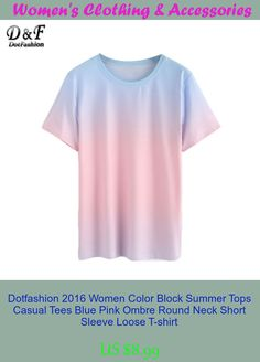 Dotfashion 2016 Women Color Block Summer Tops Casual Tees Blue Pink Ombre Round Neck Short Sleeve Loose T-shirt