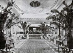 approach to Palm Court restaurant aboard a ship circa 1910
