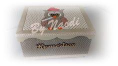 Caixa para medicamentos - pintura, forrada com tecido e patch embutido