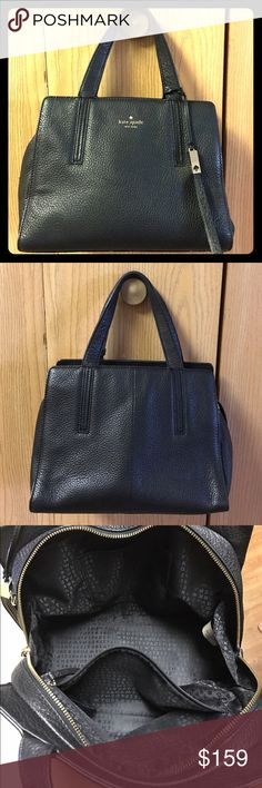 Kate Spade ♠️ Black Leather Satchel Handbag Gently used (no marks or damage) beautiful black pebble leather Kate Spade satchel handbag. All zippers work, clean interior. Unfortunately does not come with extra strap, but does have capability of transforming into crossbody bag. kate spade Bags Satchels