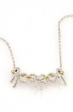 Tiffany Sterling Silver And 18K Yellow Gold Triple Ribbon Pendant Necklace