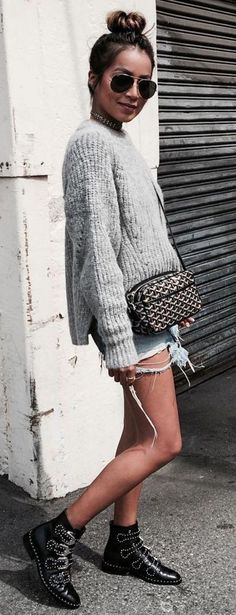 #sincerelyjules #spring #summer #besties | Top Knot + Knit + Booties