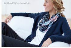 Zip-front textured cardigan