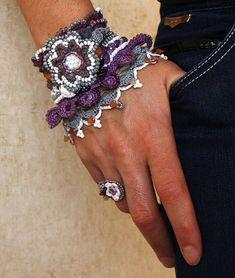 Art Jewelry Violet Flower Crochet Bracelet Crochet by stasiSpark
