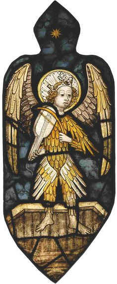 The Museum is located on the upper level of Ely Cathedral Stained glass tracery light depicting an Angel playing a vielle, a stringed instrument played with a bow. Made between 1460-1480 by a Norwich Artist.