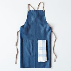 Slate-Blue Kitchen Apron + 52 Stripes Tea Towel Set