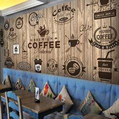 Retro Wood Grain Cafe Wallpaper Mural (㎡) - New Deko Sites Café Design, Wood Design, 3d Wall Murals, Wall Art, Wall Decor, Room Decor, Room Art, Graffiti Wallpaper, Street Graffiti