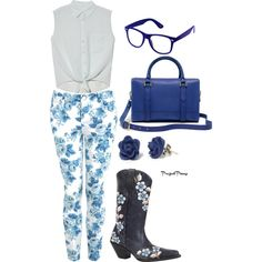Blue Floral by flirtwithdurango on Polyvore (Id prefer pretty white cowboy boots instead though)
