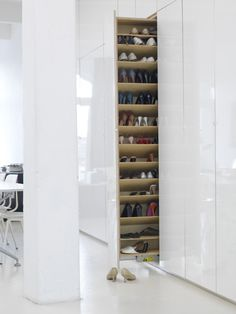 100 Fantastic Creative Hidden Shelf Storage Ideas Worth to apply in Small House - DecOMG Shoe Shelves, Storage Shelves, Shelving, Storage Ideas, Shoe Cupboard, Shoe Cabinet, Hall Cupboard, Shoe Drawer, Closet Bedroom
