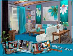 Sims 4 Updates: pqSims4 - Furniture, Living room : Ibiza living Mediterranean style, Custom Content Download!