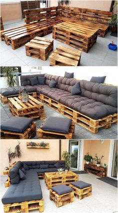 Now here is the patio furniture idea to create at home for fulfilling the seating need, there is a table as well as the pieces for sitting other than the sofa. The pallets are painted brown and they can be painted with any hue depending on the desire.