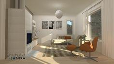 3D -stailaus ja - sisustussuunnittelu ennakkomarkkinoinnissa olevaan uudiskohteeseen/ moderni olohuone, modern living room / As Oy Jyväskylän Viherpeippo, VRP/ 3D-sisustus Tilanna