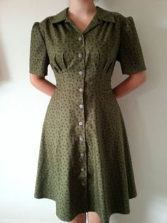 1940s STYLE DRESS GREEN SIZE 10 to 24 MADE TO ORDER LINDY HOP SWING DRESS | eBay