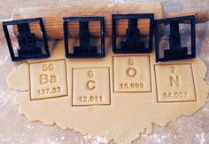 3D printed periodic table of elements barium, carbon, oxygen & nitrogen cookie cutter set that spells out bacon.
