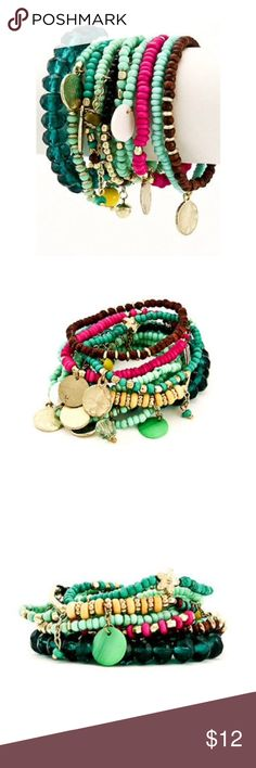 New Beachy Boho Bracelet Set of 10 Bohemian Beachy Boho Stretch Bracelets  - Set of 10!  Cutebracelets with a mix of colors. Wood brown, light yellow, turquoise, aqua, fuchsia, mint Dangling discs, bauble charms, and little jingles.  Wear all together, just a few or alone - so many looks Made in India Jewelry Bracelets
