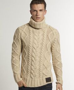 Stay cosy with our range of men's jumpers and knitwear, from classic crewnecks to perfect pullovers. Mens Cable Knit Sweater, Mens Turtleneck, Men Sweater, Mens Fashion Sweaters, Superdry Mens, Mode Chic, Mens Jumpers, Roll Neck, Cool Sweaters