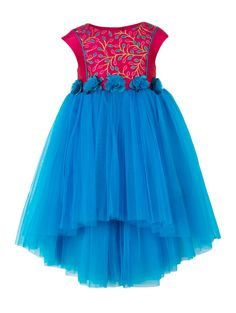 Girls blue and pink bodice high low party dress. Tie-up for easy wearing & better fit. Button opening at the back Cotton lining at the bodice for skin comfort. 5 Rose flower corsages at waist for an elegant look. Hi-Low skirt pattern. Girls Formal Dresses, Girls Party Dress, Flower Girl Dresses, Summer Dresses, Hi Low Skirts, Stunning Girls, Flower Corsage, Satin Sash, Kids Boutique