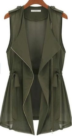 Green Drape Collar Sleeveless Zip Front Drawstring Waitcoat   Waterfall cargo vest