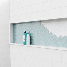 Bootz Industries Nextile 30 in. Direct-to-Stud Alcove Tub Surround in - The Home Depot Small Bathroom, Master Bathroom, Master Shower Tile, Shower Accent Tile, Tile Shower Niche, Bathroom Niche, Dream Bathrooms, Washroom, Bathroom Ideas