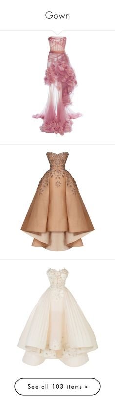 """""""Gown"""" by thebadkids ❤ liked on Polyvore featuring dresses, gowns, pink, marchesa, long dresses, marchesa gowns, pink ball gown, floral evening gown, floral ball gown and pink gown"""